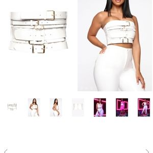 NEW WITH TAGS CARDI B WHITE BELT/TUBE TOP